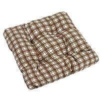 Pernă de scaun Adela grilă maro, 40 x 40 cm