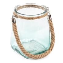 Świecznik szklany do powieszenia, niebieski