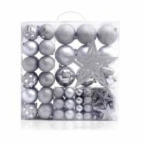 DecoKing Sada vánočních ozdob Star stříbrná, 100 ks