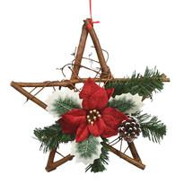Rojo karácsonyi fonott csillag mikulásvirággal, piros, 30 cm