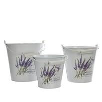 Zinkové vedrá Lavender, sada 3 ks