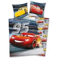 Lenjerie de pat din bumbac pentru copiii  luminoasă Cars, 140 x 200 cm, 70 x 90 cm