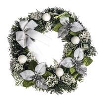 Wieniec świąteczny z poinsecją śr. 30 cm, srebrny