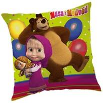 Vankúšik Máša a medveď s balónikmi, 40 x 40 cm