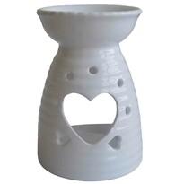 StarDeco Ceramiczny kominek aromatyczny Serce biały, 13,5 cm