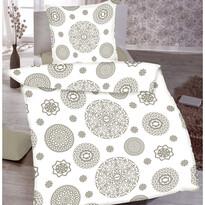 Lenjerie pat 1 pers. Mandala albă, bumbac, 140 x 200 cm, 70 x 90 cm