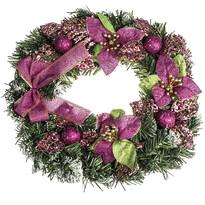 Vianočný veniec s poinsettiou pr. 30 cm, ružová
