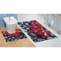 Kúpeľňová predložka Orchidea 3D, 60 x 100 + 60 x 50 cm