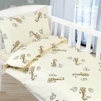 Lenjerie de pat pentru copii Agáta - Girafă, bej, 90 x 135 cm, 45 x 60 cm