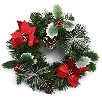 Coroniţă Crăciun Rojo, cu poinsettia, roşu, 30 cm