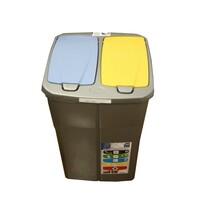 Mazzei Kosz do segregacji odpadów podwójny, 45 l,  klapa niebieska i żółta