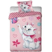 Lenjerie de pat pentru copii Pisică Maria cu  fluture, 140 x 200 cm, 70 x 90 cm
