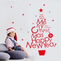 Samolepiaca dekorácia Vianočný stromček, červená