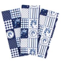 Kuchyňská utěrka Elegant patchwork modrá, 50 x 70 cm, sada 3 ks