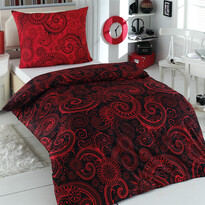 Bavlněné povlečení Sal červená/černá, 220 x 200 cm, 2 ks 70 x 90 cm