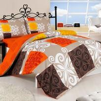 Pościel bawełniana Sedef pomarańczowa, 160 x 200 cm, 2 szt. 70 x 80 cm