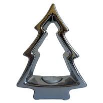 StarDeco Świecznik dekoracyjny Choinka srebrny, 18,5 cm