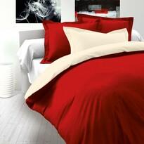 Saténové povlečení Luxury Collection červená / smetanová, 140 x 200 cm, 70 x 90 cm