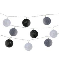 Svetelná LED reťaz s 10 guľôčkami, sivá