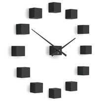Future Time FT3000BK Cubic black Designové samolepicí hodiny, pr. 50 cm