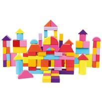 Cuburi din lemn cu găletuță Bino 100 buc. roz