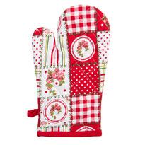 Rękawica kuchenna Country patchwork czerwony, 17 x 27 cm