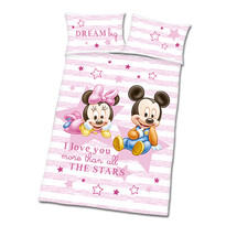 Obliečky do detskej postieľky Mickey a Minnie ružoá, 135 x 100 cm, 40 x 60 cm
