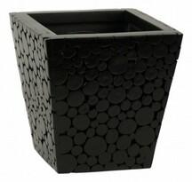 Obal s povrchem z dřevěných špalíčků, černá , 23 x 23 x 23 cm