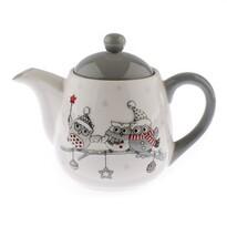 Keramická kanvička na čaj Zimné sovičky, 900 ml