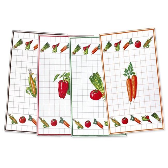 Sada kuchyňských utěrek  Zelenina ,  40 x 70 cm, sada 4 ks
