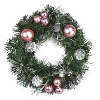 Vianočný veniec Esfera ružová, 28 cm
