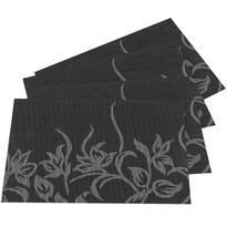 Virágos alátét, fekete, 30 x 45 cm, 4 db-os készlet