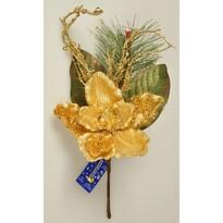 Vánoční větvička Magnólie s korálky zlatá, 45 cm