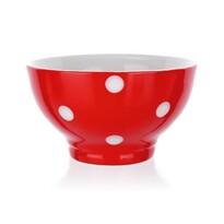 Castron ceramic Banquet, 13 cm, roşu cu buline