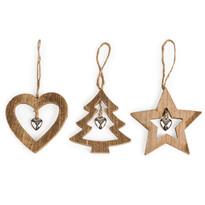 Drevená vianočná dekoráci Trio hnedá, 3 ks