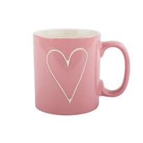 Kubek ceramiczny Heart 630 ml, jasnoczerwony