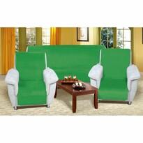 Narzuty na kanapę i fotele Korall micro zielony, 150 x 200 cm, 2 szt. 65 x 150 cm