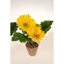 Umělá květina gerbera v květináči žlutá