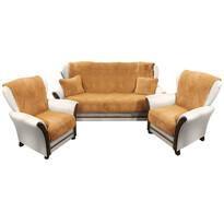 4Home Narzuty na kanapę i fotele Baranek brązowy, 150 x 200 cm, 2 szt. 65 x 150 cm