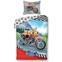 Dětské bavlněné povlečení Fast Wheel Club moto, 140 x 200 cm, 70 x 90 cm