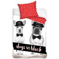 Pościel bawełniana Dogs in Black, 140 x 200 cm, 70 x 90 cm
