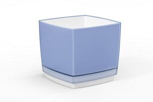 Doniczka osłonka plastikowa Cube 170, niebieska