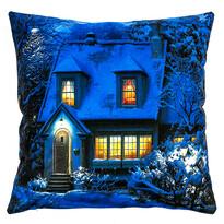Svíticí polštářek Zasněžený dům, 40 x 40 cm