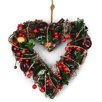 Podzimní ratanová dekorace srdce Automne červená, 24 cm