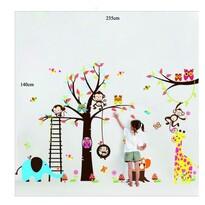 Decoraţiune autoadezivă Arbore din poveste, bufniţe, maimuţe