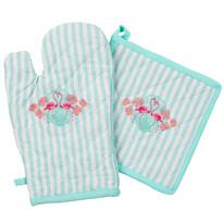 Rękawica kuchenna i podkładka Flamingo niebieski, komplet 2 szt.
