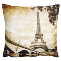 Povlak na polštářek mikroplyš Eiffelovka vintage, 40 x 40 cm