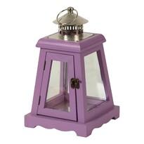 Drewniany lampion, latarnia na świeczki, fioletowy