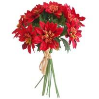 Umelá kytica Poinsettia červená, 20 cm