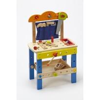 Dřevěný dílenský stůl s příslušenstvím
